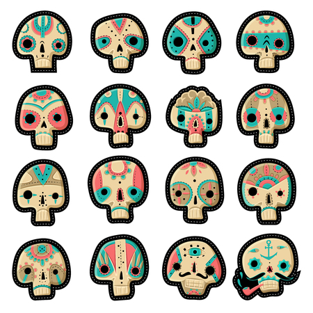 mexican party: A set of sixteen vector skulls. Skulls set. Vector illustration