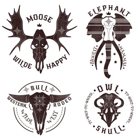 moose: Set of four emblems with skulls of animals.  Animal skulls set. Vector illustration