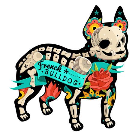 esqueleto: Estilizada Bulldog Franc�s esqueleto. Vector Bulldog Franc�s. Ilustraci�n vectorial Vectores