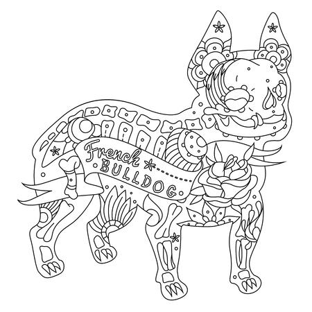frances: Estilizada Bulldog Francés esqueleto. Vector Bulldog Francés. Ilustración vectorial Vectores