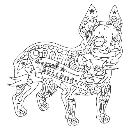 french: Stylized skeleton French Bulldog. Vector French Bulldog. Vector illustration