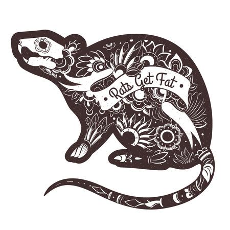 rata: Tarjeta de felicitación con la rata con diseño. Vector del tatuaje de la rata. ilustración vectorial