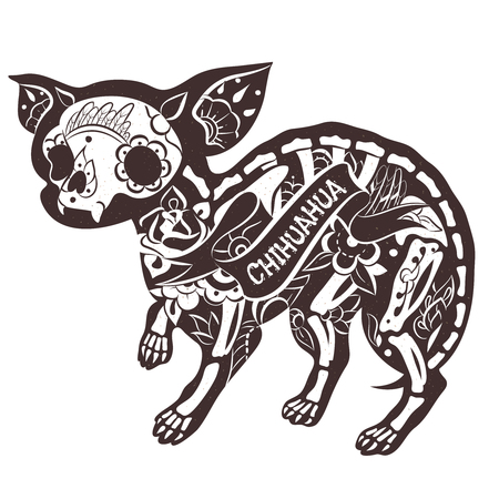 Stylized skeleton Chihuahua. Vector Floral Chihuahua. Vector illustration  イラスト・ベクター素材