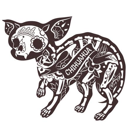 cane chihuahua: scheletro stilizzato Chihuahua. Vector Floral Chihuahua. illustrazione di vettore