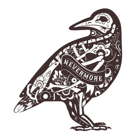 esqueleto: Crow esqueleto estilizado. Vector floral del cuervo. ilustraci�n vectorial