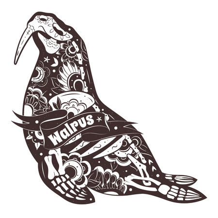 walrus: Greeting card with walrus, skeletons with floral patterns. Stylized Walrus Skeleton.
