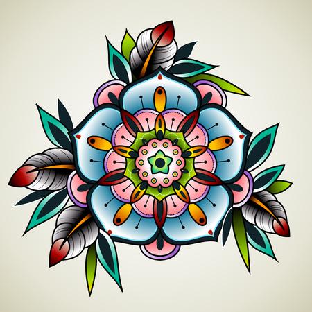 Fleurs d'art vieilles de tatouage de l'école pour la conception et la décoration. Vieux fleur de tatouage de l'école. Banque d'images - 50145571