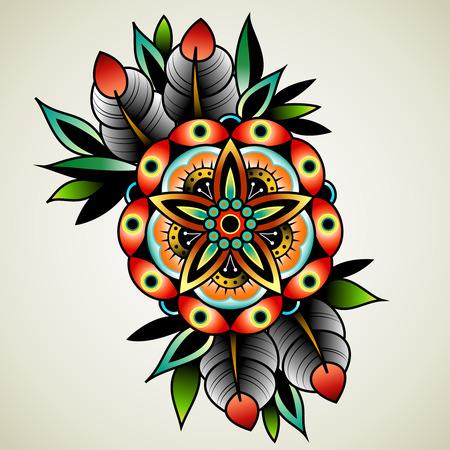 hojas antiguas: flores viejas de arte del tatuaje de la escuela para el dise�o y la decoraci�n. flor tatuaje de edad escolar. Vectores