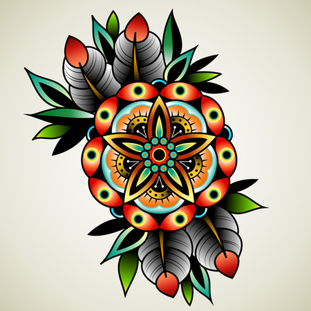 element old: Old school tattoo art flowers for design and decoration. Old school tattoo flower. Illustration
