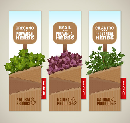 sheaf: The set of three vertical banners with Provencal herbs.