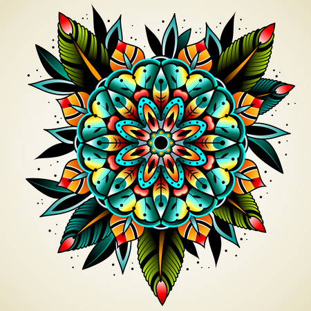 tattooing: Old school tattoo art flowers for design and decoration. Old school tattoo flower. Illustration
