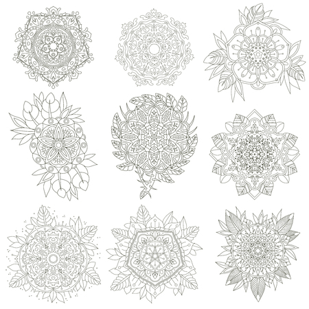 anti stress: A set of nine contour circular ornaments. Vector Flowers anti-stress. Vector set