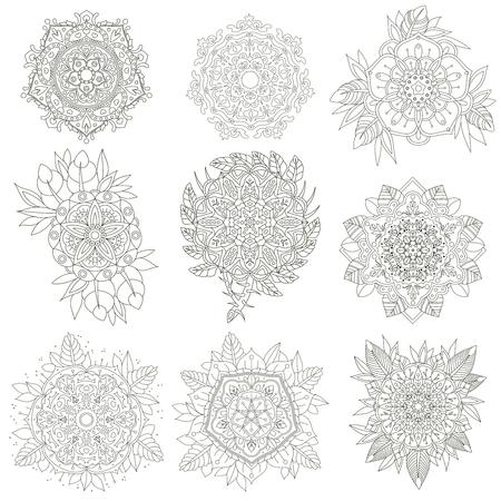 A set of nine contour circular ornaments. Vector Flowers anti-stress. Vector set