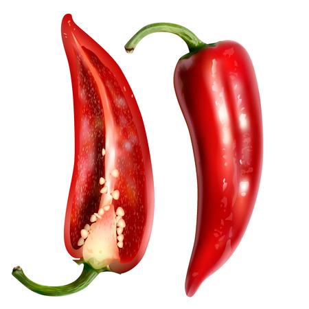 Poivron rouge isolé sur fond blanc. aliments biologiques sains. Vecteurs