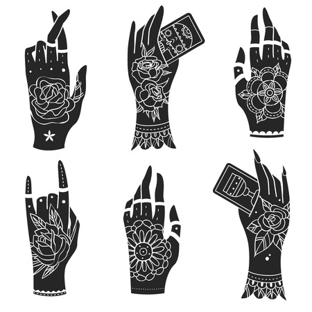 tattooing: Ornate hands with old school tattoo. Old school tattoo hands.