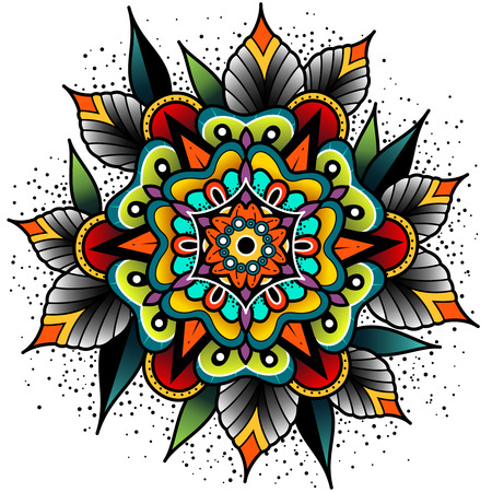 tattooing: Old school tattoo art flowers for design and decoration. Old school tattoo flower