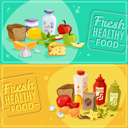 every day: Every day products. Daily meal banners. Vector illustration