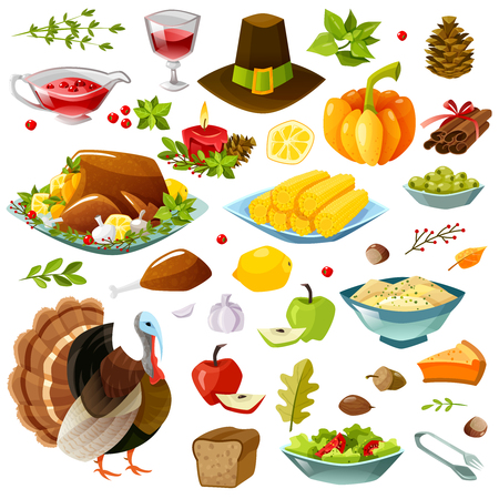 Set of colorful cartoon icons for thanksgiving day. Happy thanksgiving set. Vector illustration Illustration