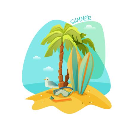 playas tropicales: cartel de la historieta colorida de la playa de recreo. El mejor verano. ilustración vectorial
