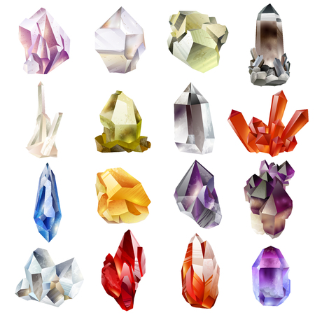 Crystals and stones Isolated Vector Set. Vector illustration