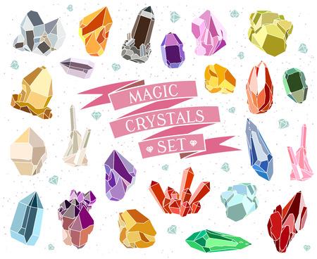 Kristallen en stenen geïsoleerd Vector Set. vector illustratie