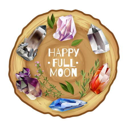 the altar: Crystals and stones full moon altar. Vector illustration