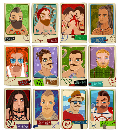 aries: Cartoon set of the twelve signs of the zodiac. Zodiac men. Vector illustration