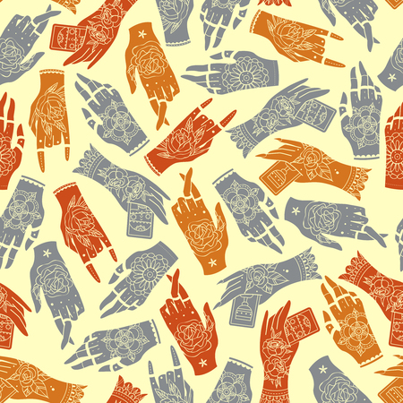 basis: Seamless background created on the basis of decorative hands. Tattoo hands seamless pattern. Vector illustration