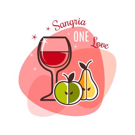 logo de comida: Icono aislado restaurante. Sangría y frutas emblema. ilustración vectorial