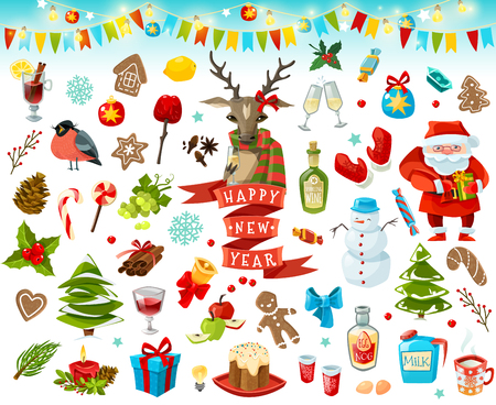 eggnog: Big set of Christmas items. Happy New Year. Vector illustration Illustration