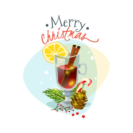 fir cone: Emblem with Christmas mulled wine. Christmas mulled wine. Vector illustration Illustration