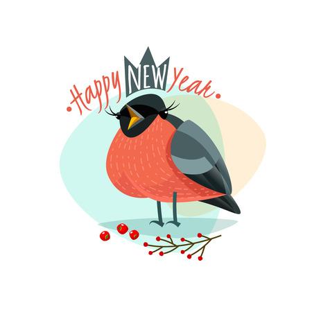 Christmas vector with funny Bullfinch. New Year Bullfinch. Vector illustration