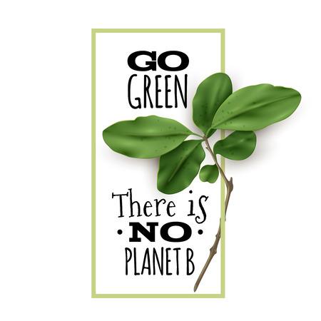 흰색 배경에 에코 따옴표로 현실적인 나뭇잎. 에코 식물학 포스터. 벡터 일러스트 레이 션