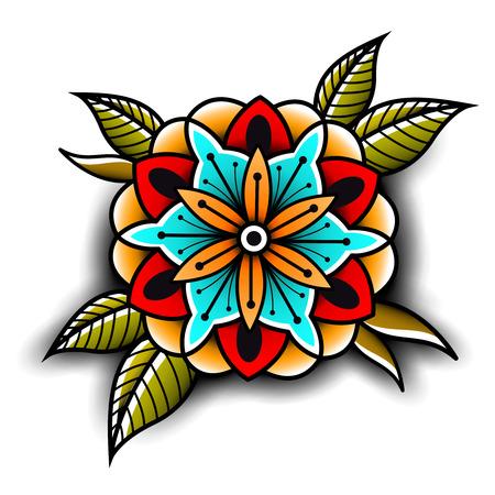 flower decoration: Old school tattoo art flowers for design and decoration. Old school tattoo flower. Vector illustration Illustration