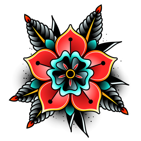 Old School Tatuaż sztuki kwiaty dla projektowania i dekoracji. Stara szkoła tatuaż kwiat. ilustracji wektorowych