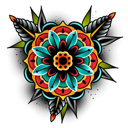 fleur de tatouage de vieille école