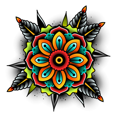 Old school tattoo flower