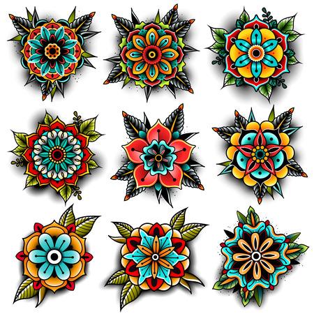 Old school tattoo flowers set Vectores