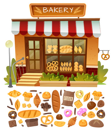 Bakery shop facade with showcases and trays of baking with the addition of variety of dough products Illustration