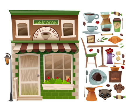 Coffee shop facade with showcases with the addition of isolated individual elements on a white background Illustration