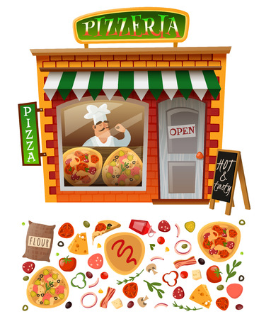 Pizzeria shop facade with showcases and trays of varieties pizza with the addition of variety of ingredients for pizza and italian cook
