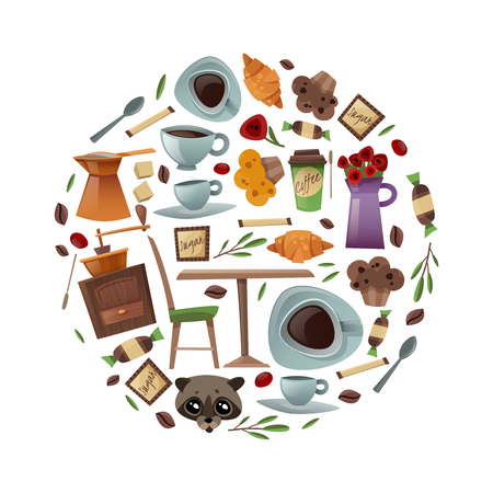 Coffee shop isolated items collected in a round composition on a white background