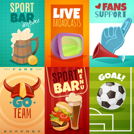 fan paraphernalia sport bar items and fans set on a bright cards mini banners Ilustração