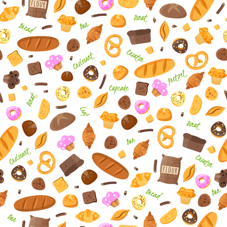 Baking isolated items collected in a seamless pattern on a white background Stock Illustratie