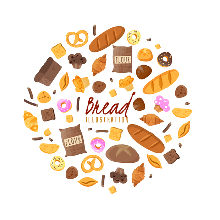 Baking isolated items collected in a round composition on a white background