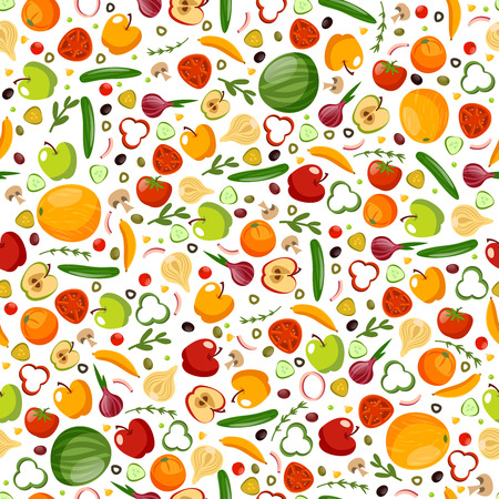 Vegetables and fruits seamless pattern Ilustração