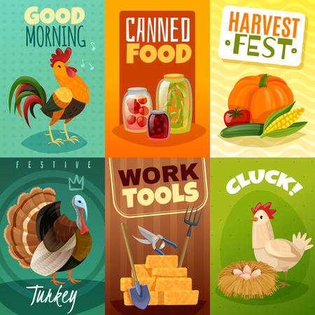 Set of six bright mini banners in farm theme cartoon style