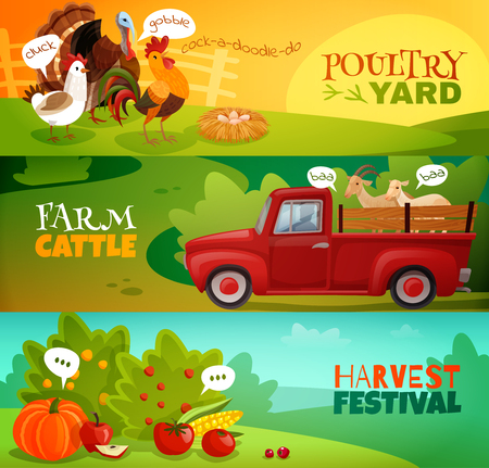 Set of three bright horizontal banners in farm theme cartoon style