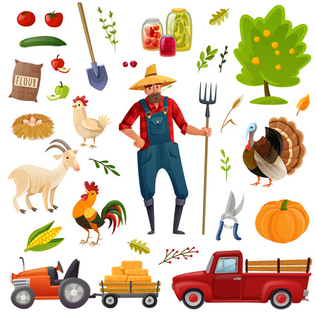 A large set of farm theme consisting of isolated objects on a farm theme in cartoon style on a white background.