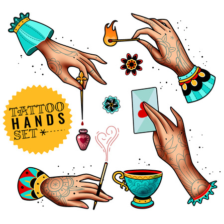 set of four tattooed hands holding various items on a white background